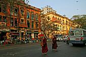 two monks crossing road, Yangon, Myanmar