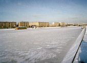 Frozen Moskva river, Moscow Russia