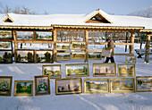 Paintings at flea market, Izmailovski Park, Moscow, Russia