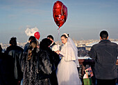 Bride and groom with balloon, Marriage, Sparrow Hills, Moscow, Russia