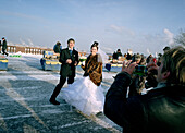 Bride and groom, guest drinks to them, Marriage, Sparrow Hills, Moscow, Russia