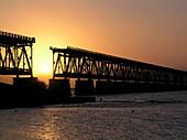Old Bridge at sunset, Bahia Honda Key, Florida, America