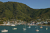 View of boats off Picton harbour, Picton, New Zealand, Oceania
