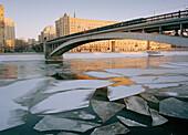 Ice on the river Moskva, Moscow, Russia