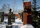 Graves at the Novodevichy cemetery, Moscow Russia