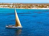 Sailboat near Grand Cayman Island, Grand Cayman, Carribean Sea, Middle America