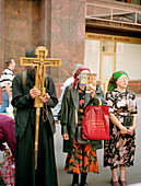 People at a religious demonstration, Moscow, Russia