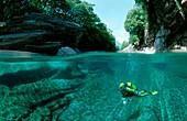 Scuba diving in a freshwater river, Switzerland, Tessin, Verzasca, Verzasca Valley, Verzasca river