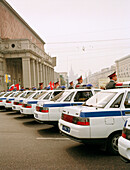 A row of police cars, Mayakovsky Square, Moscow, Russia