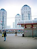 Highrise buildings at Metro Station Bratislavskaya, Moscow, Russia