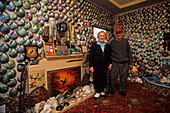 Fred and Myrtle, Paua House, NZ, Portrait of the late Fred and Myrtle, in their Paua House museum, Shell house