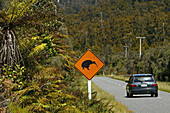 Road sign for kiwis on the road, Strassenschild, Kiwi Warnschild, warning sign for kiwis on the road, New Zealand, Oceania