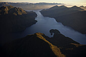 Aerial view of Breaksea Sound fiord, Fiordland National Park, West Coast, South Island, New Zealand, Oceania