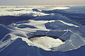 Aerial view of snow covered crater of Mount Ruapehu, Tongariro National Park, North Island, New Zealand, Oceania