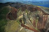 Aerial Mt Tarawera, crater, Rotorua, Volcano Mount Tarawera, near Rotorua, North Island New Zealand, Luftaufnahme, Vulkan