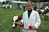 Girl with prize winning calf, Rotorua, Agricultural and Pastoral Show, A+P Show, country show for local farmers