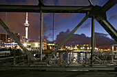 Viaduct Harbour with skyline in the background, skyline, waterfront central Auckland, North Island, New Zealand