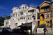 Timber suburban houses, Wellington, wooden houses Tinakori Road, inner city suburb, Thorndon, Haueser, Stadtviertel, capital, Hauptstadt
