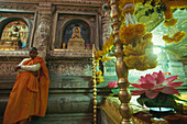 Monk inside a temple, Bodhgaya, Bihar, India, Asia