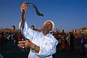 Snake charmer, old man holding snake in his hand, Djemaa el-Fna, Marrakesh, Morocco, Africa