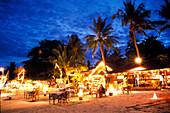 Lightend beach restaurants at Chaweng beach, Ko Samui, Surat Thani Thailand