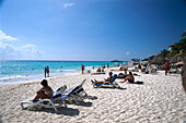 People on the beach in the sunlight, Playa del Carmen, Yucatan, Quintana Roo, Mexico, America