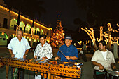 Marimbam musicans in front of the City Hall at christmas at night, Veracruz, Mexico, America