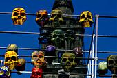 Colourful death masks at the Day of the Dead in front of the cathedral, Mexico City, Mexico, America