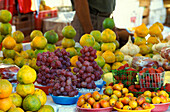 Fruit stand on the market, Campeche. Peninsula Yucatan, Mexico, America