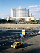 View over a deserted street at the White House, Moscow, Russia