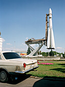 Sojus Rocket on a launching pad and the tail of a car, All-Russian Exhibition Centre, Moscow, Russia, before 2003