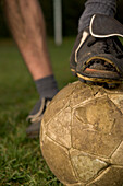 Vintage soccer ball and soccer shoes