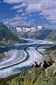 Mountaineers at Aletsch Glacier, Riederalp, Valais, Switzerland