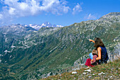Mother and daughter at Furka Pass, Canton Valais Switzerland