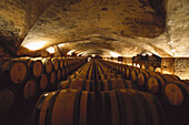Wine cellar, Chateau de Meursault, Burgundy, France