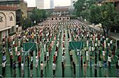 morning exercises, school in French Quarter, Shanghai, China