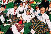 Girls with traditional costumes, Tallinn Estonia