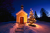 Chapel and christmas tree, Chapel and christmas tree, Upper Bavaria