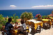 Couple in a Restaurant in Monemvasia, Lakonia, Peloponnese, Greece