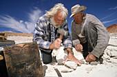 Zwei ältere Männer suchen Opale, Opalabbaugebiet, Land der Aborigine, Opalsiedlung, 35 kilometer von Marla an der Stuart Highway, Outback, Südaustralien, Australien