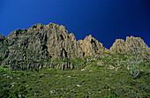 Blue sky at Cradle Mountain, Australia, Tasmania, Cradle Mountain National Park, jagged dolomite peaks of Cradle Mountain in sunshine and blue sky