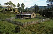 historic Mt Kate Hut, Overland Track, Cradle Mountain Lake, Tasmania, Australia