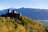 Castle ruin on a mountain in the sunlight, Lana, South Tyrol, Italy, Europe