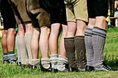 Traditonal bavarian socks, first oxrace of Bichl, Wadlstruempf, Erstes Bichler Ochsenrennen am 8.8.2004 in Bichl, Oberbayern, Deutschland August 8th 2004, Upper Bavaria, Germany