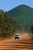 4WD Landcruiser on the dirt road, Development Road, Cape York Peninsula, Queensland, Australia