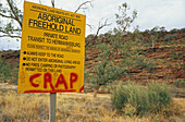 Aboriginal Land Rights Sign on transit road, Australien, Northern Territory, road to Hermannsburg through Aboriginal Land