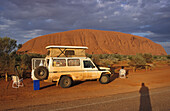 Tourist vehicle at Ayers Rock, Uluru, Australia, Northern Territory, four-wheel-drive, Ayers Rock, red centre