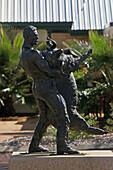 Jackie Howe Statue, Memorial to Jackie Howe, record-breaking sheep shearer Local hero, fastest shear in 1892, Matilda Highway, Queensland, Australia