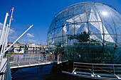 People at a biosphere at harbour, Porto Antico, Genoa, Liguria, Italy, Europe