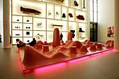 People at design area at the Pinakothek der Moderne, Munich, Bavaria, Germany, Europe